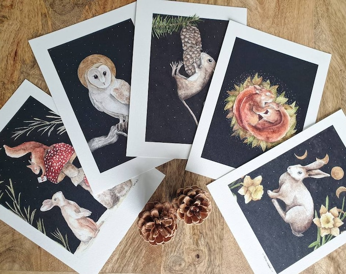 Featured listing image: Lot maps woodland animals drill A5 watercolor