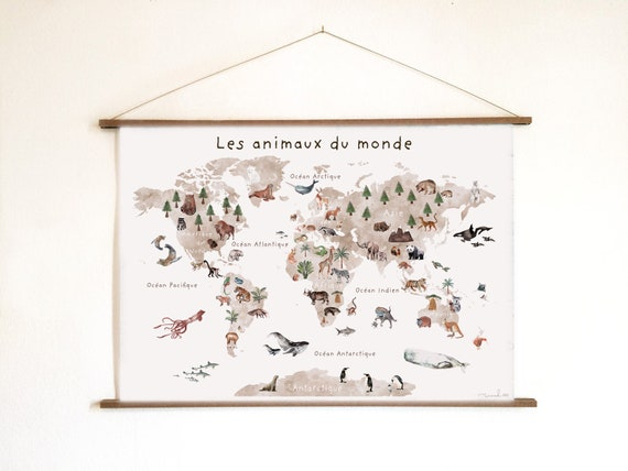 poster map of the world animals
