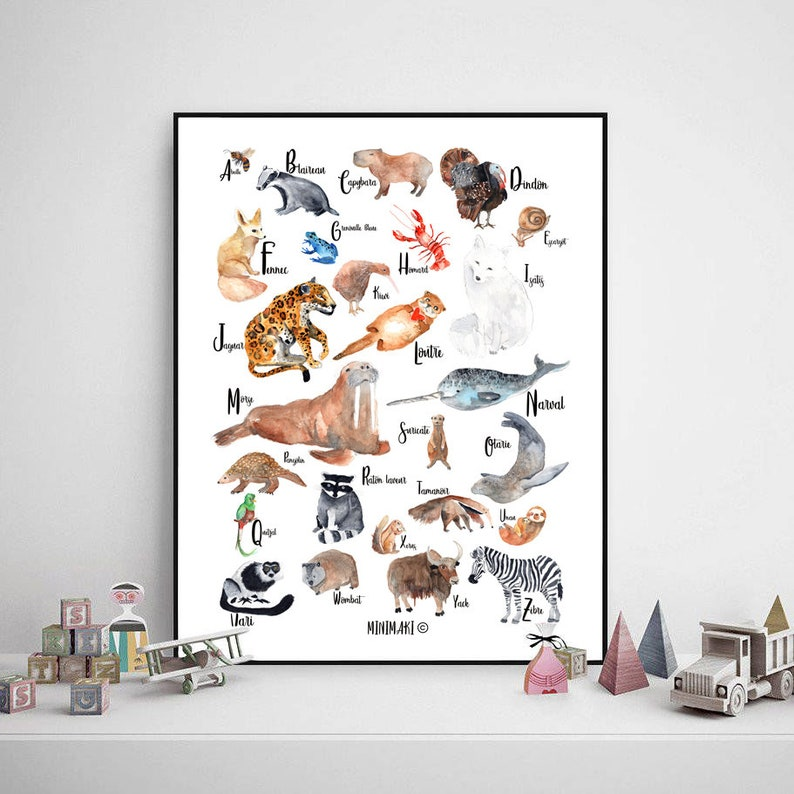 French alphabet animals baby child watercolor decoration room image 0