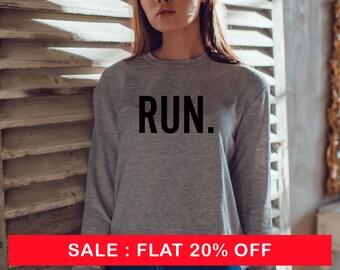 838ac27b RUN. - Crewneck Sweatshirt workout apparel fitness sweatshirt crush it  crush it shirt fitness fun runner sweatshirt running sweatshirt