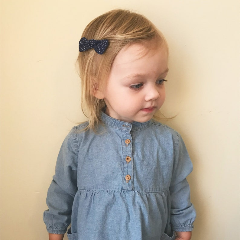 baby bow set Newborn to toddler bow Mini knot bows on a stretchy nylon headband or a no-slip hair clip dainty baby bow You pick 3
