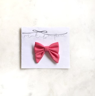 Coral Sailor Bow | coral sailor headband, ponytail or hair clips, sailor bow headband, girls sailor hair clips, bright pink pigtail clips