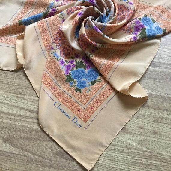 Vintage Christian Dior Silk Scarf rose, Silk scarf
