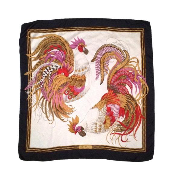 Vintage Salvatore Ferragamo Silk Scarf Rooster, Si