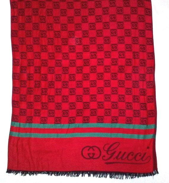 Vintage GUCCI silk cashmere Scarf long, Silk scarf