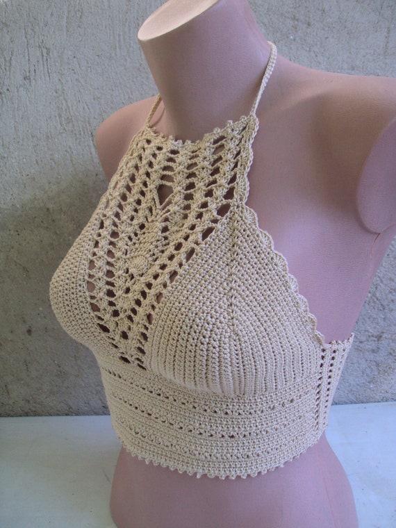 Crochet Top  Crop Top  Festival Top  Boho Top  Hippie Top  Knit bikini Top