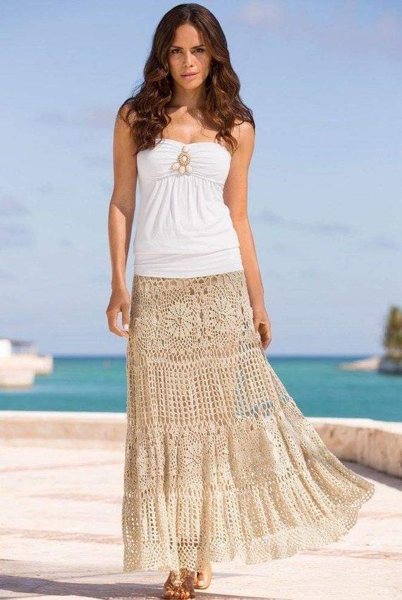 Crochet maxi skirt Boho bohemian bride festival gypsy long lace knitting skirt women Made to order Cotton wedding skirt Write skirt