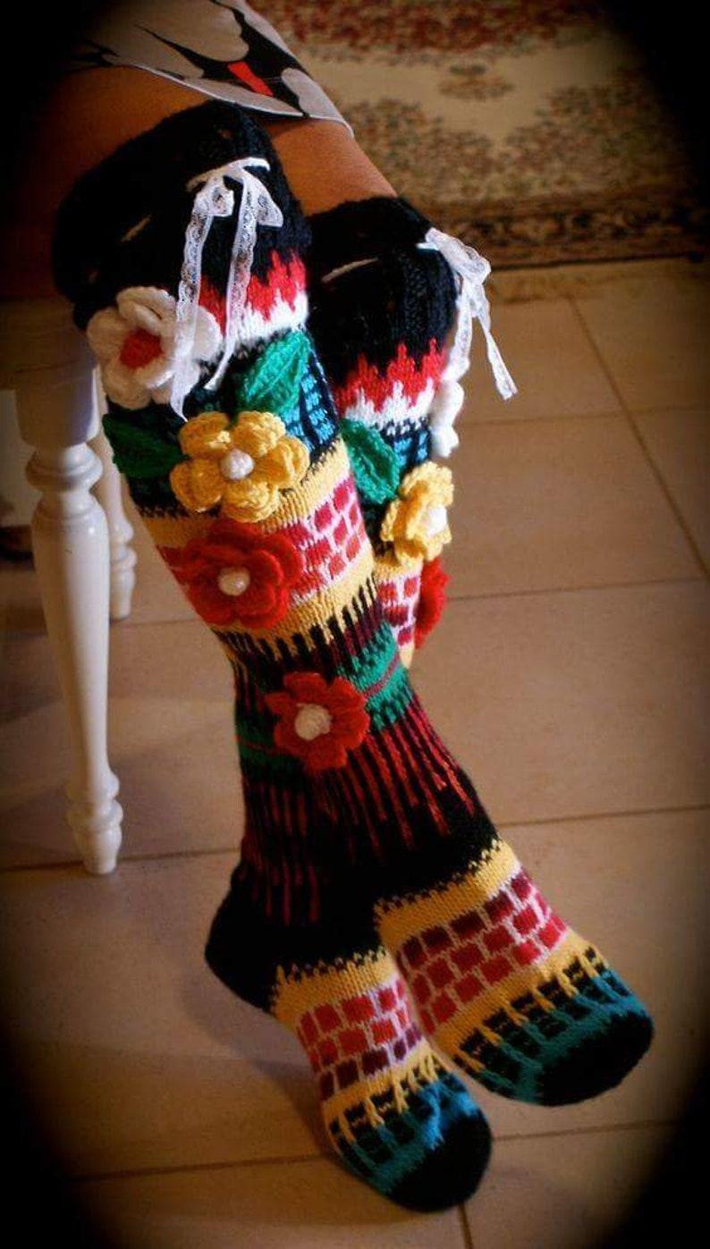 flower knee socks Flower socks,rainbow socks,woman leg warmers Hand knit socks Over The Knee Socks,Thigh High Socks,Hand knit knee socks