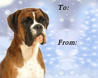 Boxer Dog Christmas Gift Labels, Peel Off, Self adhesive, 2 Sheets of 21 Labels, 42 Labels in total