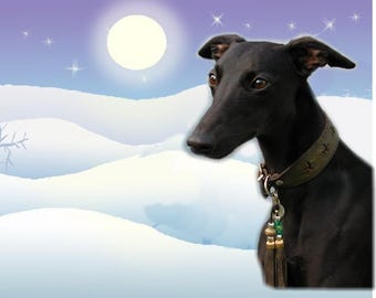Whippet (Black) Dog Christmas Gift Labels, Peel Off Self adhesive, 2 Sheets of 21 Labels, 42 Labels in total