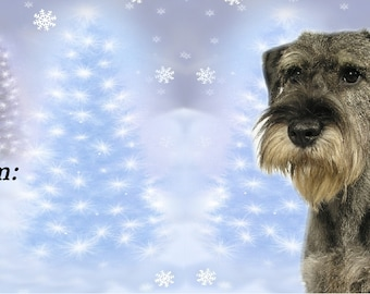 Schnauzer Dog Christmas Gift Labels,  Peel Off Self adhesive, 2 Sheets of 21 Labels, 42 Labels in total