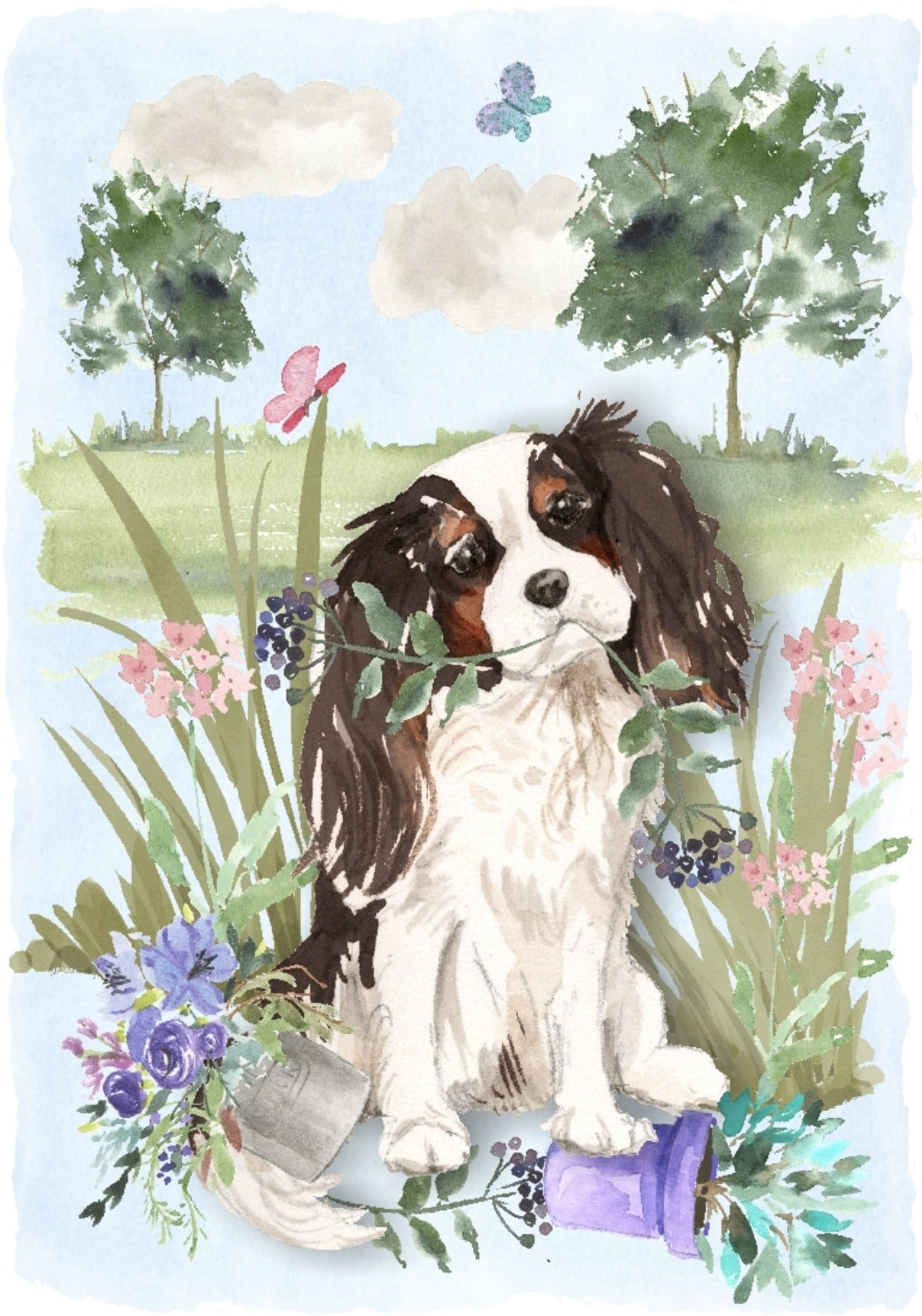 Cocker Spaniel Dog with Free Dome Gift Box Birchcroft China Thimble