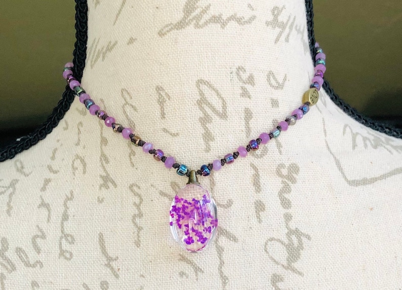 Violet Dyed Jade Gemstones and Misty Rose Seed Beads you can have them both! Pressed Flower Jewelry Choker or Necklace