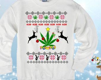 420 weed marijuana ugly christmas sweater sweatshirt for men women marijuana christmas shirt funny christmas ugly sweater weed sweater