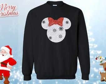 glitter disney christmas holiday snowflake minnie lightweight sweatshirt red white glitter minnie christmas