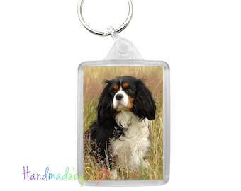 Cavalier Spaniel Dog Charm Keyring Bag Key Ring Acrylic King Charles Tricolour