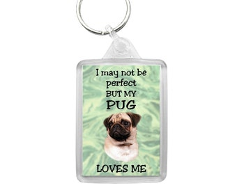 Present I May not Be Perfect But My Dog Loves Me Staffie Keyring Gift