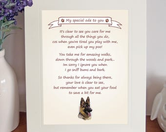 German Shepherd Dog 8 x 10 Free Standing Thank You Poem FROM THE DOG Fun Novelty Gift Lovely Mothers//Fathers Day Birthday Idea