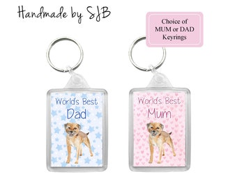 Yorkshire Terrier Keyring /'World/'s Best Dad/' Keyfob Birthday Fathers Day Gift