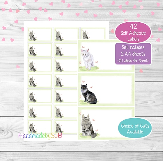 30 Custom Baby Camo Love Cat Personalized Address Labels