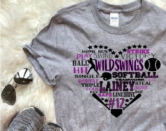 87390d4a932 Softball heart with CUSTOM name, jersey number, team name and colors - MANY  colors of soft, ringspun tees - Adult & Youth sizes