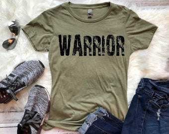 f7aaa2559 WARRIOR ringspun tshirt - FREE SHIPPING! Many colors available - workout tee,  strong woman, strong man - girl power - Crossfit, Warrior run