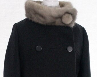 Vintage Wool Coat with Fox Collar
