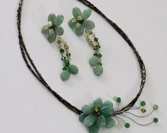 Emerald Jade Flower Necklace and Earring Set