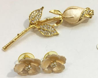 Rosebud Brooch and Earrings