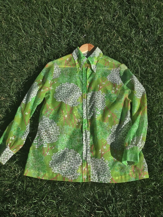 70s Floral Button Up - image 9