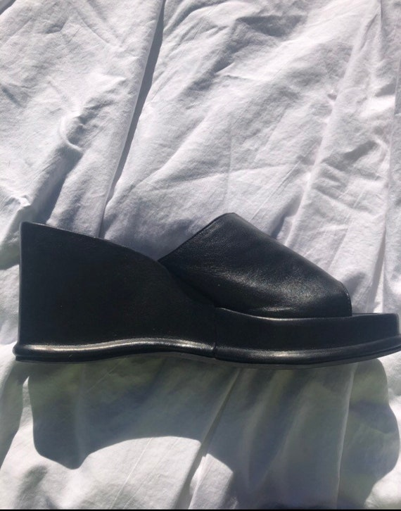 90s Black Leather Wedge Mules - image 4