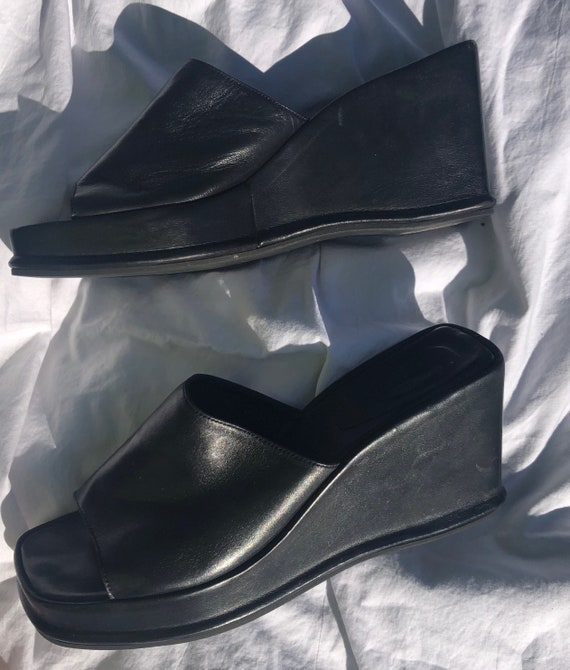 90s Black Leather Wedge Mules - image 6
