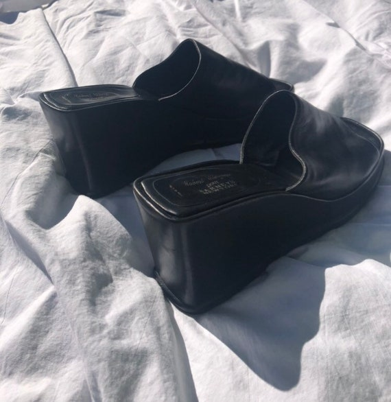 90s Black Leather Wedge Mules - image 7
