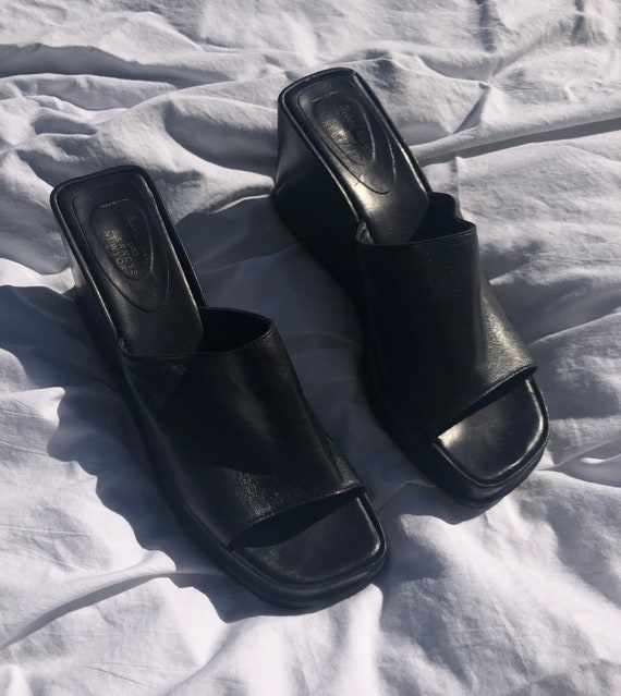 90s Black Leather Wedge Mules - image 5