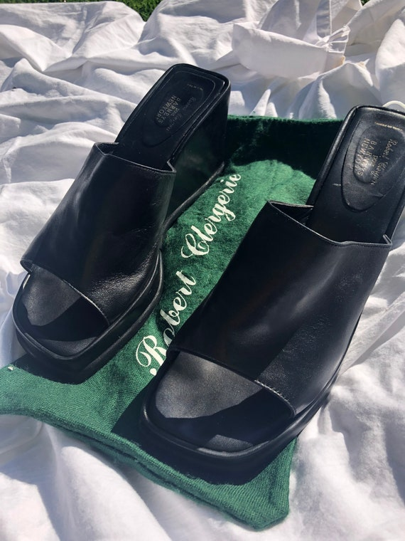 90s Black Leather Wedge Mules - image 3