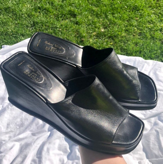 90s Black Leather Wedge Mules - image 2