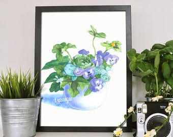 Watercolour Bulbasaur Bouquet Print - A4 Illustrated Poster