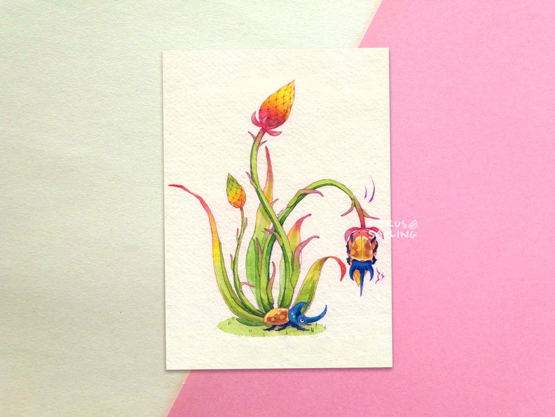 Unique Animal Plant Painting Beetle /& Thistle Botanical Postcard A6 Illustrated Small Vintage Art Print 320gsm Snail Mail Card
