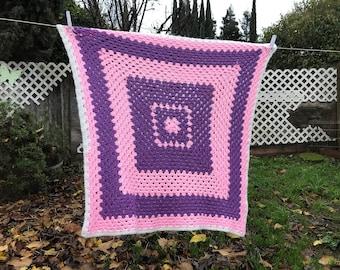 Purple Pink Baby Handmade Crochet Blanket Afghan Throw 32X32