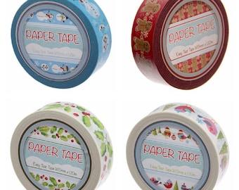 Christmas Tape Pack of 4 Self Adhesive Gift Roll 10 Meters Each