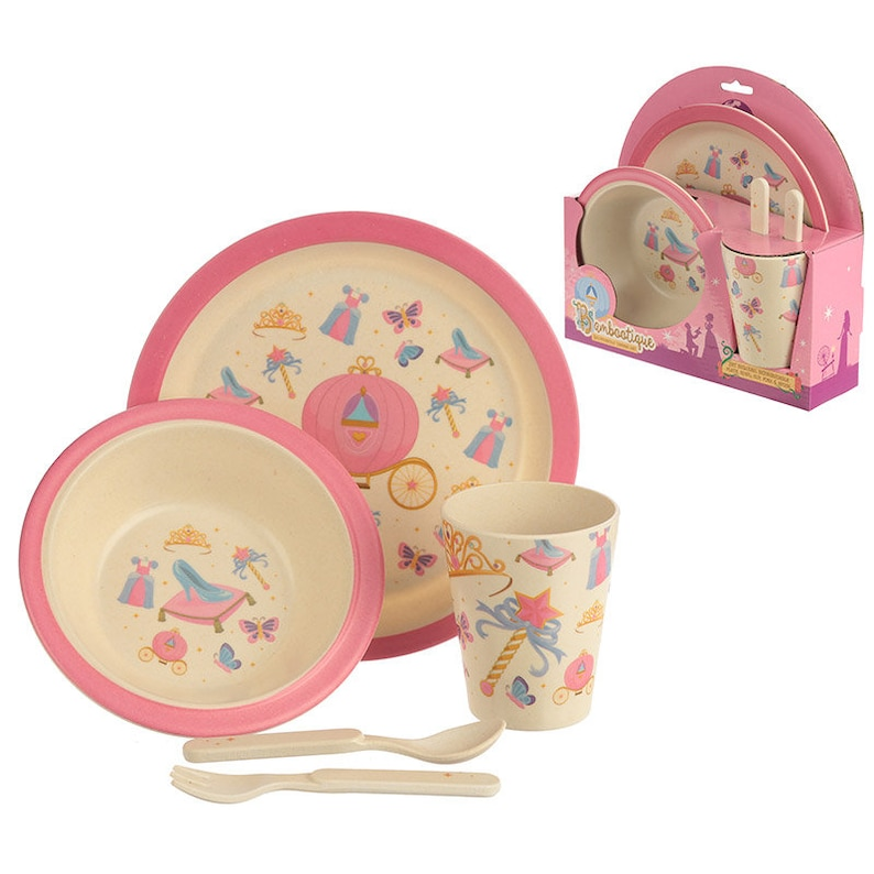 Princess Design Eco Friendly Toddler Plate Set Baby Feeding Set Durable Plate Bowl Cup Spoon Fork 5PC Infant Matching Eco Gift Set No BPA