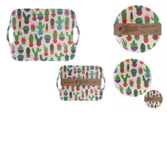 X4 plaques de Cactus Eco Friendly & plateau bambou Fibre Durable dîner éco cadeau ensemble plaques de pique-nique