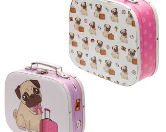2 X Lovely craft suitcases Storage to keep your creative, collectable or crafts Pugs Design