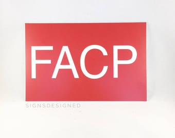 "6"" x 9"" Red  ""FACP"" Fire Alarm Control Panel Sign"