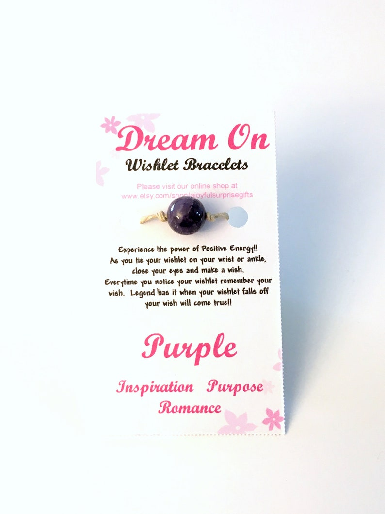 18aa2476cdf56 Purple Wishlet Bracelet, Make a Wish Gift for Best Friend, Amethyst Anklet  Ankle, Karma Inspirational Purpose Romance Inpiration women girl