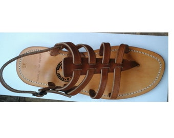 NATURAL four straps Sandals made in France