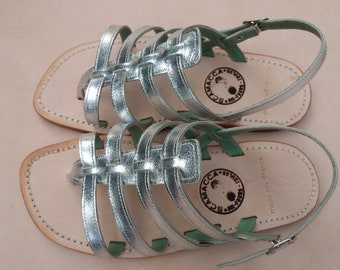 ONLY silver Sandals made in France