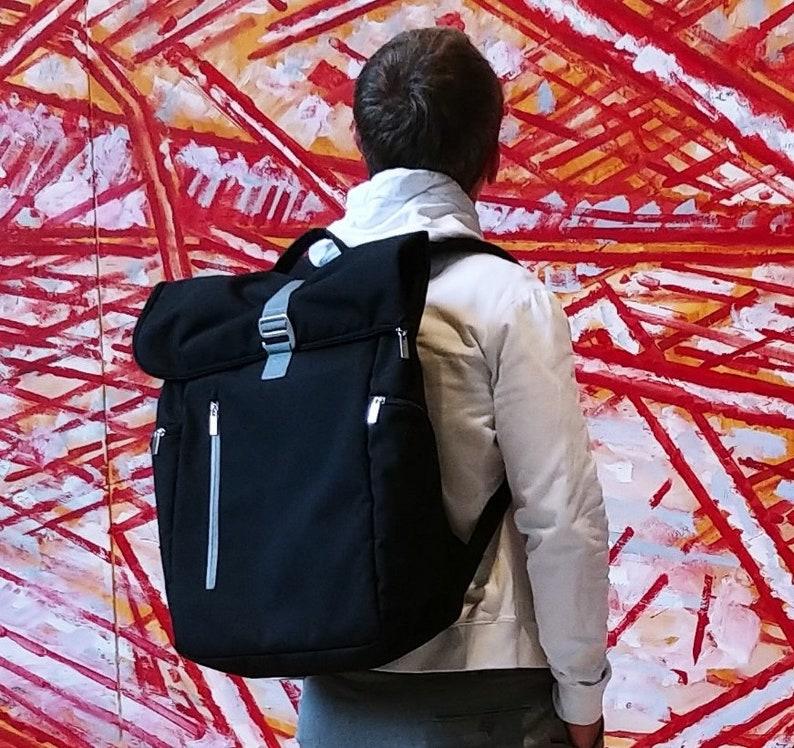 6a9572c5e6 Roll Top Backpack Laptop Backpack 15 Vegan Backpack Rolltop