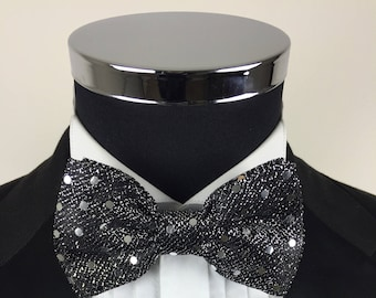 7a58b424021e Sequin Bowtie, sparkly bowtie, glitter bowtie, black bowtie, silver bowtie,  glitter bowtie, pre tied bow tie, gifts for men, prom bow tie