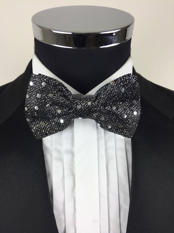 Silver Men Women Sequin Bowtie Classic Clip-On Neck-wear Tuxedo Adjustable